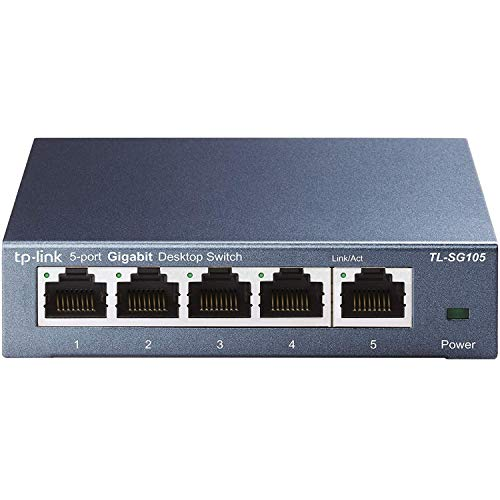 TP-Link TL-SG105 Switch 5 Porte Gigabit, 10/100/1000 Mbps, Plug & Play, Nessuna Configurazione...