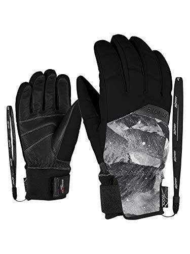 Ziener Damen KOMI AS(R) AW lady glove Ski-handschuhe/Wintersport | Wasserdicht, Atmungsaktiv, Grey Mountain Print, 7.5 (M)