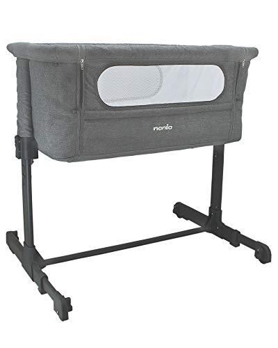 Nania -Culla Neonato per Co-Sleeping in Tessuto DODI - 2 in 1 letto aggiuntivo - Materasso Ultra comfort 4 cm di spessore - Lettino da Campeggio,Leggero, Stabile, Regolabile, Grigio