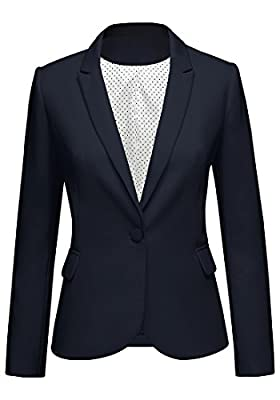 """Model is 5'8"""", bust 34""""; waist 24""""; hips 36"""", wearing size S. Please refer to our size chart when purchase items. Fully lined blazer in woven fabric with notched lapels, welt front pockets, and two buttons closure. Blazers for women work casual, this..."""