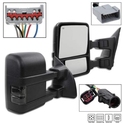 TRIBLE SIX Passenger&Driver Side Towing Mirrors Fit for 1999-2007 Ford F-250/F-350/F-450/F-550 Super Duty Truck Pair of Black Powered + Smoked Signal Glass + Manual Extenable