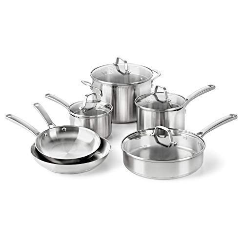 Calphalon Classic Pots And Pans Set, 10-Piece Cookware Set, Stainless...