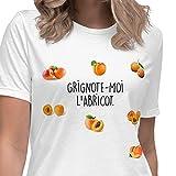 T-Shirt Humour Femme Grignote-Moi l'Abricot Message drôle. Idée Cadeau Original Marrant pour Amie Couple Collègue Soeur Copine Amoureuse Anniversaire Noël Fête St Valentin. Tee-Shirt Blanc S