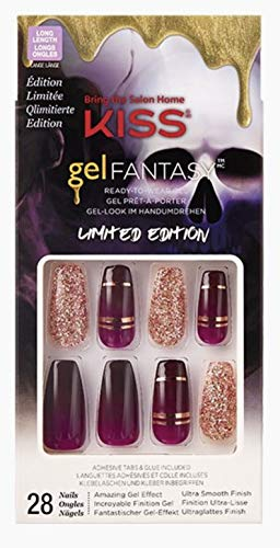 Kiss Gel Fantasy Halloween Dark Plum Gold Glitter Long Length Coffin Shape Nails 82636 Who's There? Halloween Limited Edition Nails