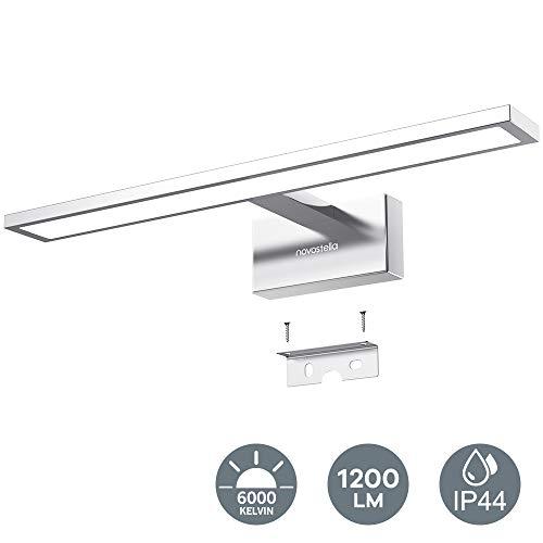 Novostella LED Spiegelleuchte 15W Badleuchte Verchromte Aluminiumlegierung 6000K IP44 wasserdicht LED Schminklicht 1200lm 40CM, sicher zu benutzen CE und RoHs zertifiziert (400x125x60mm), Kaltweiß