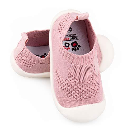 Zapatos de Punto para niños, Zapatos de bebé de Suela Suave, Suaves, Respirables, Ligeros, adecuados para 1-4 años de Edad, Rosa, 22 EU