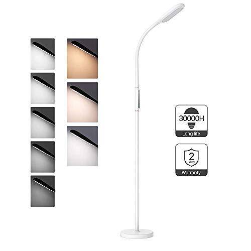 TaoTronics Stehlampe LED Dimmbar 12W Stehleuchte für Wohnzimmer Schlafzimmer, Hohe 30.000 Stunden Lebensdauer, 5 Helligkeitsstufen, 3 Farbtemperaturen, Touch-Bedienung, Flexibler Schwanenhals, Weiß
