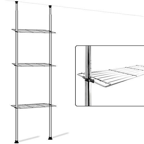 Badregal ohne Bohren Teleskopregal 3 Ablageböden Höhenverstellbar bis 270 cm verchromter Stahl Badezimmer Regal Bad