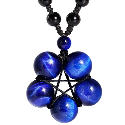 Jewever Tiger Eye Necklace Pendant Handmade Star-Shape...
