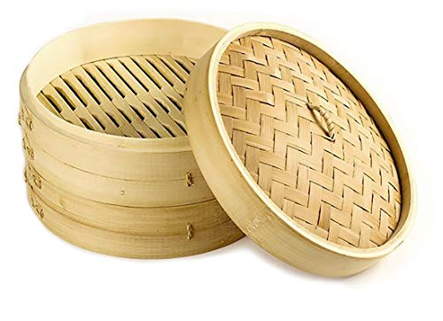 EM Home - Vaporiera in bambù per cottura a vapore, 1 livella con coperchio, cestino di bambù, contenitore in bambù, orientale, cottura a vapore 20x13.5cm (2 pisos)