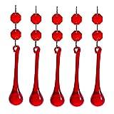 longsheng 10pcs Red Crystal Raindrop with Octagon Beads Chandelier Prisms Pendants Lamp Curtain DIY Suncatcher Parts 80mm Drop