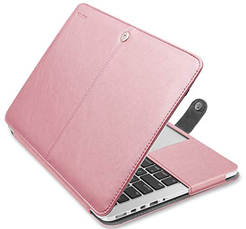 MOSISO MacBook Pro 13 inch Case, Premium PU Leather Book Folio Protective Stand Cover Sleeve Compatible with MacBook Pro 13 inch Retina (A1502/A1425, Version 2015/2014/2013/end 2012), Rose Gold
