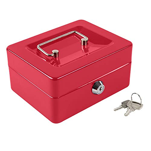Kyodoled Cash Box with Money Tray,Small Fire Resistant Safe Lock Box with Key,Cash Drawer,5.91'x 4.72'x 3.15' Red Small