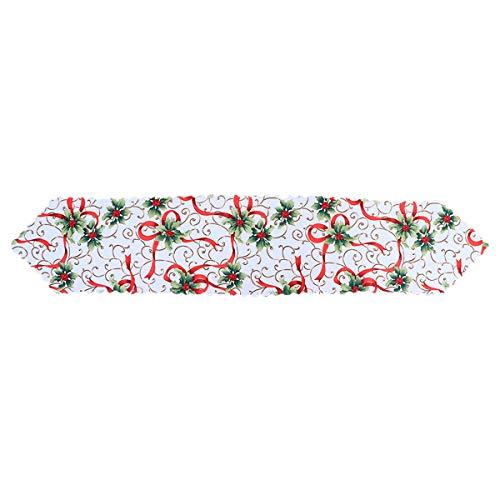 BESTonZON Camino de Mesa Navideño de Flores Decoraciones de Mesa para Navidad 180 * 36 cm