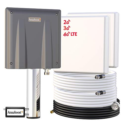 Signal Booster for Cell Phone-Up to 8,000 sq ft,Amazboost Antenna AT&T Verizon T-Mobile Sprint All Cellular 4G LTE 3G 2G Cell Booster for Home Office Building Warehouse