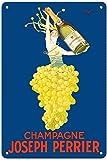 Affiche publicitaire vintage « Champagne Joseph Perrier » - Femme française sortant du raisin de Chardonnay par J. Stall c.4892 - 20,3 x 30,5 cm