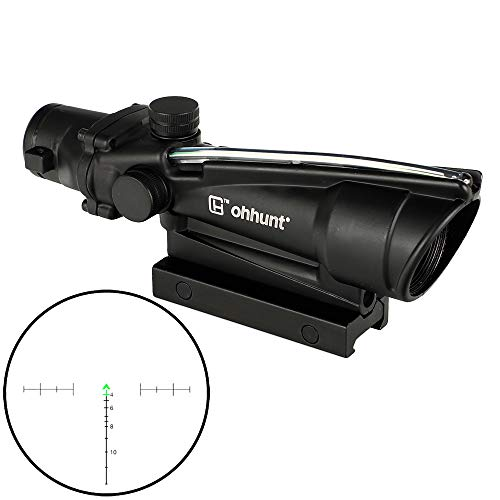 ohhunt 5X35 Real Fiber Scope Red or Green Chevron Reticle Tactical Optical Sights (Green Chevron Reticle)