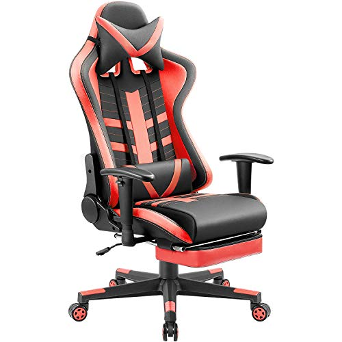 Homall Ergonomic High-Back Racing Pu Leather Bucket Seat Computer Swivel Office Headrest and Lumbar Support with Footrest, Black/Red
