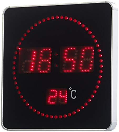 Lunartec Wand Funkuhr Digital: Flache LED-Funk-Tisch- & Wanduhr, Temperatur-Anzeige, rote LEDs (LED Uhren)