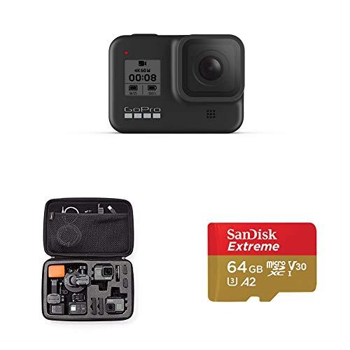GoPro HERO8 Black - Fotocamera digitale impermeabile 4K con stabilizzazione ipersfondata, touch screen e controllo vocale - Streaming live HD, 12 MP + Custodia trasporto Large