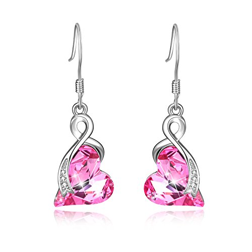 Love Heart French Hook Dangle Drop Earrings Women 925 Sterling Silver with Pink Swarovski Crystals Jewelry Gift for Her