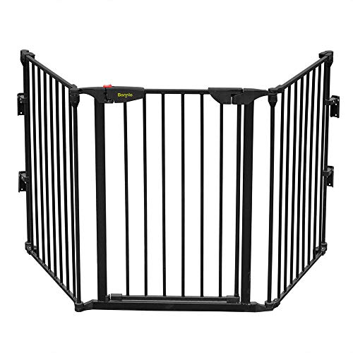 Bonnlo 73-Inch Configurable Walk-Through Baby Safety Gate Adjustable Metal Barrier/Fence for Toddler/Pet/Dog/Cat/Puppy  Ideal for Openings/Stairs/Doorways (25.39'W x 29.3' H Each Panel)