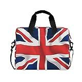 ALARGE - Funda para ordenador portátil, diseño de bandera de la Unión Británica, 15 a 16 pulgadas, maletín de viaje, mensajero para computadora con asa de correa para mujeres y hombres