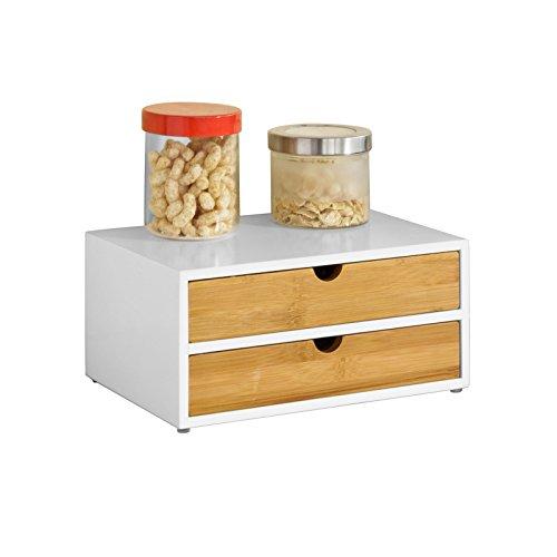 SoBuy FRG180-WN Contenitore per capsule da caffè, in MDF e bambù, con 2 cassetti, per conservare, organizer da scrivania
