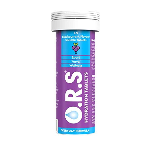 O.R.S Hydration Tablets with Electrolytes, Vegan, Gluten and Lactose Free Formula - Blackcurrant, 12 Tablets, 5060135050115