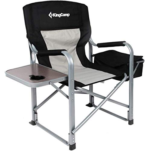 8. KingCamp Heavy Duty Steel Folding Ice Fishing Chair with Cooler Bag and Side Table