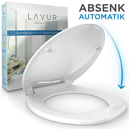 LAVUR ® Toilettendeckel - WC Sitz mit Edelstahlbefestigung - mechanischer Schließmechanismus - universelle Größe für alle Standardtoiletten - inklusive Befestigungsmaterial