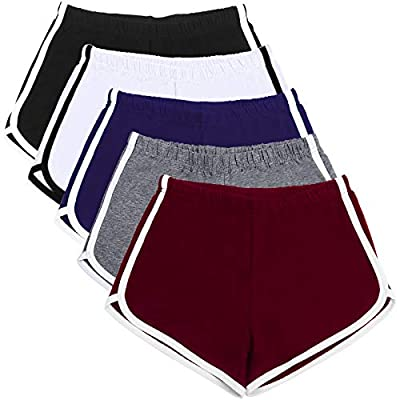 YOU WILL GET: Each package contains 5 pairs of women's sports shorts, enough for your daily use, easy to change, or can share with your friends and family. SOFT MATERIAL: Women's sports shorts are made of 95% cotton fabric, breathable and sweat-absor...