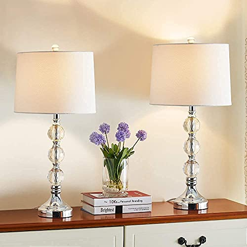 Maxax Table Lamp Set of 2 with Crystal Balls, White Fabric...