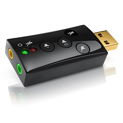 CSL - Externe USB Soundkarte - 7.1 Dynamic Stereo Sound 3D - Sound Card mit Funktionstasten - Lautstärkeregler und Volume Kontrolle für Computer Notebook Tablet-PC MacBook
