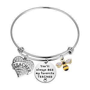HOLLP Teacher Keyring Gift You Will Always Bee My Favorite Teacher Keychain Bee Jewelry Teacher Appreciation Teacher Keepsake End of Year Gift
