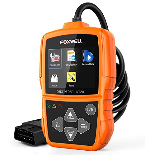 FOXWELL NT201 OBD2 Scanner Check Engine Light Car Code Reader OBD II Diagnostic Scan Tool Thermometers(New Version)