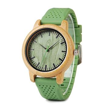 BOBO BIRD Mens Womens 44mm Big Neutral Bamboo Wooden Watch Unisex Japan Analog Quartz Green Silicone Strap Sports Casual Watches with Wood Box