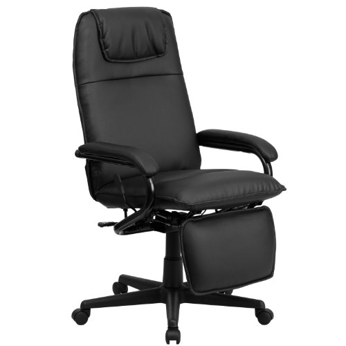 Flash Furniture High Back Black LeatherSoft Executive Reclining Ergonomic Swivel Office Chair with Arms