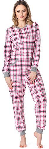 Merry Style Damen Schlafanzug Strampelanzug Schlafoverall MS10-175 (Rosa Kariert, L)