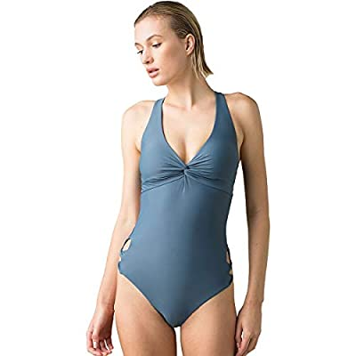 Racerback one piece Deep v-neckline with front twist detail Scooped open back with Fully adjustable back tie Side hip Cutouts with twist detail Clean finish construction