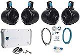 4 Rockville RWB80B 8' Wakeboard Marine Speakers+4 Channel Amplifier+Amp Kit