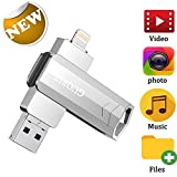USB Flash Drive 128GB for iPhone Photo Stick backup iPhone Memory Stick External Storage Thumb Drive for iPhone 11 Pro X XR XS MAX 6 7 8 Plus iPad Pro PC Android Password Touch ID Protected Flash Gold