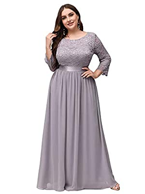 Fully lined, no built-in bras, low stretch Features: 3/4 Sleeves, Sweatheart Illusion Neckline Decorated with Lace, Ruched On the Bust and Waist, Maxi Dress. Perfect for Formal Evening, Prom, Wedding as Bridesmaid and Mother of the Bride and Groom, C...