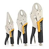 """STEELHEAD 3-Piece Locking Pliers Set, 10-inch Curved Jaw, 7-Inch Curved Jaw & 6-1/2"""" Long Nose Straight Jaw, Integrated Wire Cutter, USA-Based Support"""