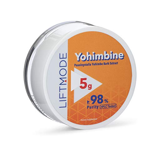 LiftMode Yohimbine HCL Powder Supplement - Fat Burner Supplement Plus Increased Energy and Libido, Yohimbe Bark Extract | Vegetarian, Vegan, Non-GMO, Gluten Free - 5 Grams (2000 Servings)