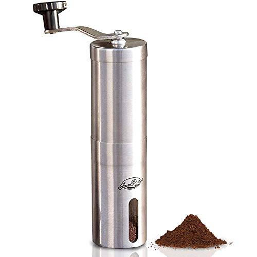 JavaPresse Manual Coffee Grinder with Adjustable Setting - Conical Burr Mill & Brushed Stainless Steel Whole Bean Burr Coffee Grinder for Aeropress, Drip Coffee, Espresso, French Press, Turkish Brew