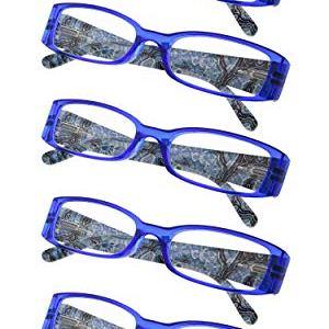 Spring Hinges Tiger Patterned Temples Reading Glasses 5-Pack Includes Sunshine Readers