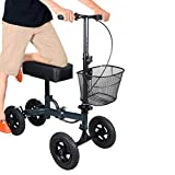 H&A All Terrain Rolling Knee Walker Crutch Alternative for Leg and Foot Injuries Medical Knee Scooter (Metal Blue)