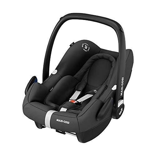 Maxi-Cosi 8555672110 Rock Babyschale, sicherer i-Size Baby-Kindersitz, Gruppe 0+ (0-13 kg), nutzbar ab der Geburt bis Circa 12 Monate, Essential Black, grau, 3.9 kg