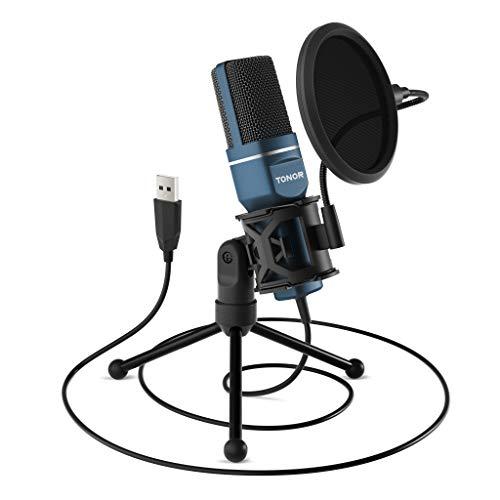 TONOR Micrófono PC Micrófono de Condensador Computadora USB...